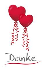 Danke mit Herzluftballons, Vektor