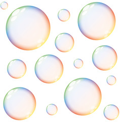 isolated colorful large and small transparent soap bubbles