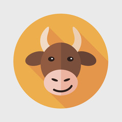 Pet cow flat icon with long shadow