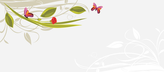 Decorative floral background with butterflies