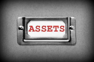 Assets Label in metal index card holder of filing system