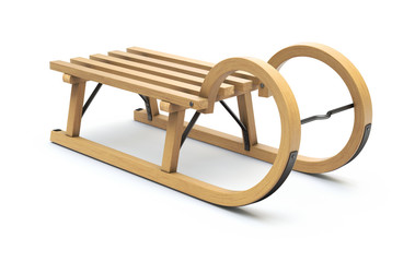 Curly wooden sled