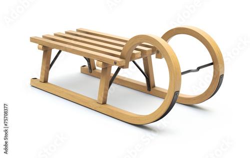 Leinwanddruck Bild Curly wooden sled