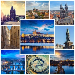 Mosaic collage storyboard of Prague images