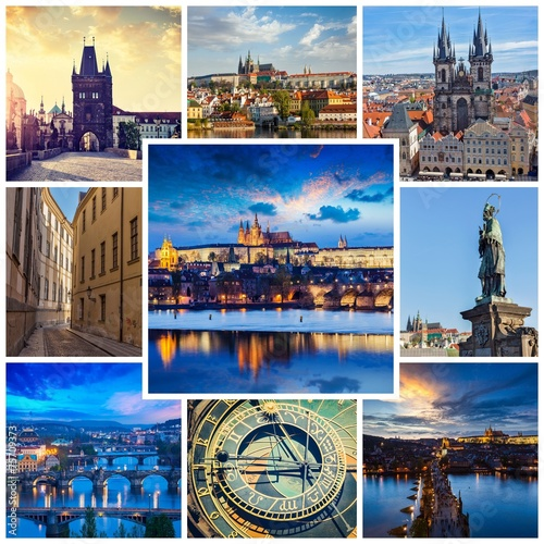 canvas print picture Mosaic collage storyboard of Prague images