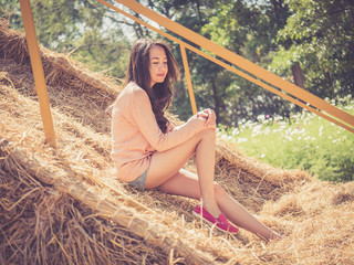 beautiful asian woman with retro vintage style filter effect