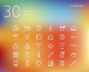 Cooking and food outline icons set
