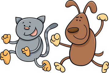 cat and dog playing tag cartoon