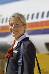 Italy, Sardinia, Olbia Airport, flight stewardess