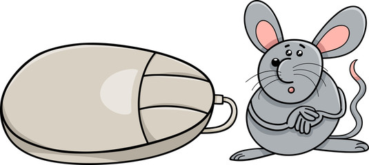 computer mouse and real rodent cartoon