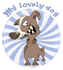 Hunting Dog Badge Cartoon