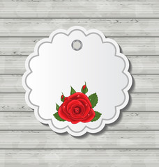 Card with red rose for Valentine Day on wooden texture