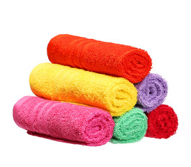 Colorful Bathroom Towels isolated on white background