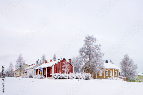 Staande foto Scandinavië Winter scenery from Oulu Finland