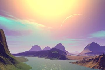 3D rendered fantasy alien planet. Sunset of a sun