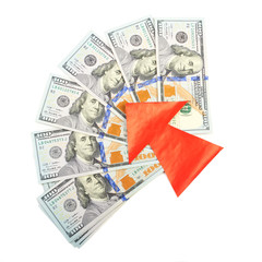 Hundred-dollar bills and a red arrow on a white background.