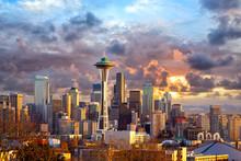 "Постер, картина, фотообои ""Seattle skyline at sunset, WA, USA"""