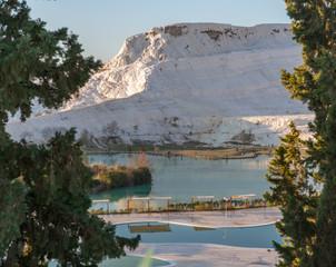 White mountains and lake
