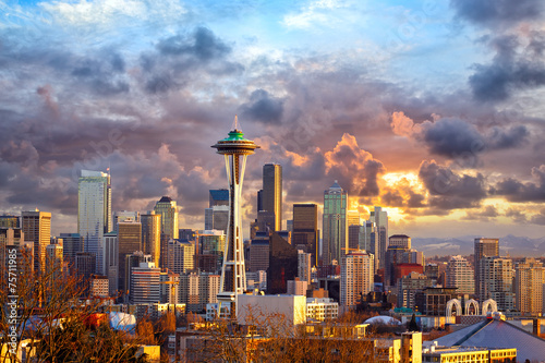 Staande foto Verenigde Staten Seattle skyline at sunset, WA, USA