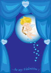 Sipario Azzurro con Cupido-Valentine Day