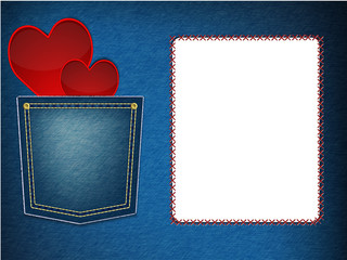 hearts in denim pocket