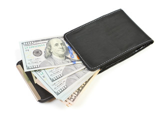 Black leather wallet with dollars. Isolated on white