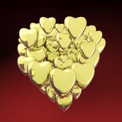 Gold heart shaped valentine's day symbol