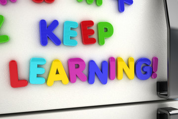 Keep learning magnets on refrigerator door