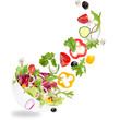 Fresh salad with flying vegetables ingredients - 75713949