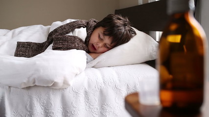 little sick boy talking in his sleep