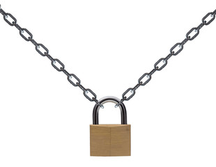 Metal chain and padlock