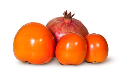 Three Persimmon And One Pomegranate Fruit