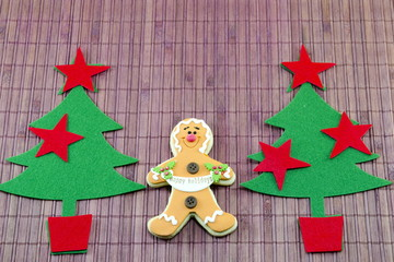 Edible gingerbread and a two  christmas trees