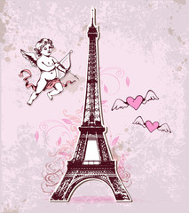 Vintage card with Eiffel Tower and cupid