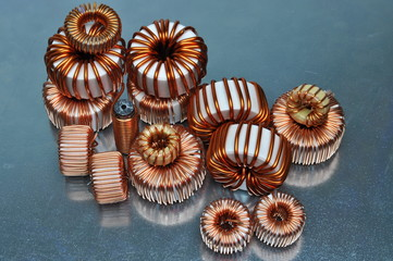 Electric coils on metal background