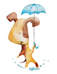 dog with umbrella. watercolor illustration