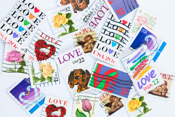 Love Stamps on white background
