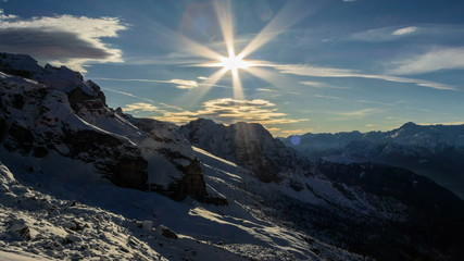 Cima Brenta snow slopes and cliffs, shadows winter time lapse