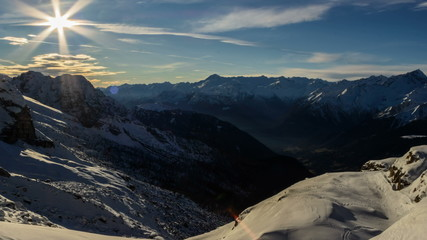 Cima Brenta snow slopes and valley, shadows winter time lapse