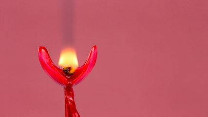 Heart Shaped Red Candle Burning and Melting Timelapse