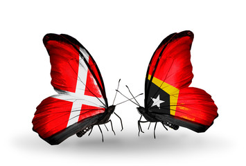 Two butterflies with flags Denmark and East Timor