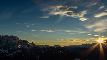 Sunset over Dolomite Alps landscape time lapse