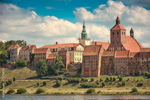 View of Grudziadz town,on the Vistula river. Poland