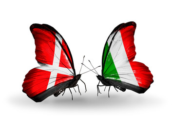 Two butterflies with flags Denmark and  Italy