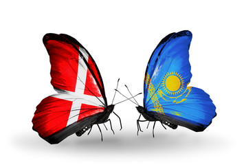 Two butterflies with flags Denmark and Kazakhstan