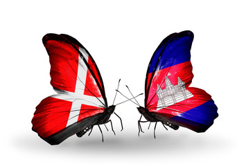 Two butterflies with flags Denmark and Cambodia