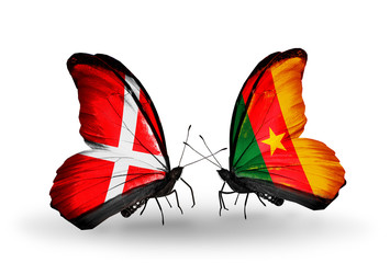 Two butterflies with flags Denmark and Cameroon