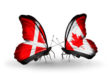 Two butterflies with flags Denmark and Canada