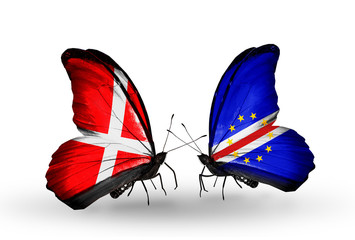 Two butterflies with flags  Denmark and Cape Verde