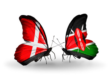 Two butterflies with flags Denmark and Kenya